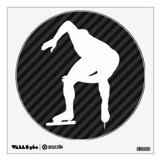Speed Skating; Black & Dark Gray Stripes Wall Sticker