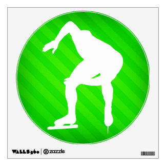 Speed Skating; Neon Green Stripes Wall Decal