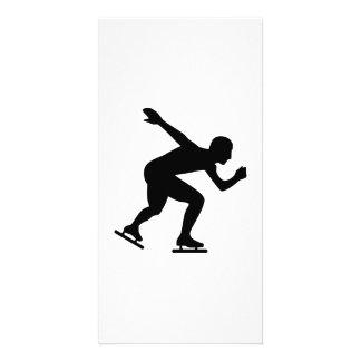 Speed skating skater photo greeting card