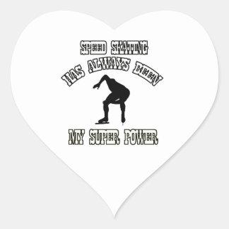 SPEED SKATING sports designs Heart Sticker