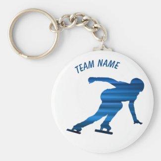 Speed skating team keychain blue