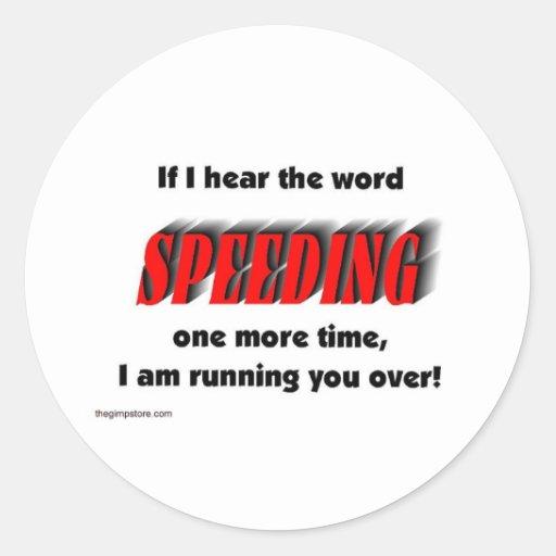 speeding classic round sticker