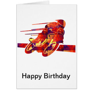 Speeding Motorcycle Silhouette Red Polygon Mosaics Card