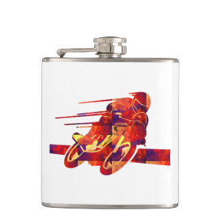 Speeding Motorcycle Silhouette Red Polygon Mosaics Flask