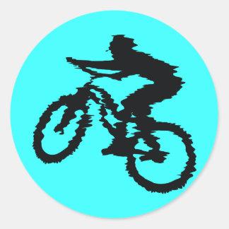 SPEEDING MOUNTAINBIKER BICYCLES MOUNTAIN-BIKES CLASSIC ROUND STICKER