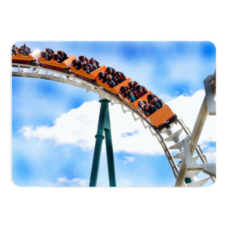Speeding Orange Roller Coaster Card