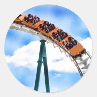 Speeding Orange Roller Coaster Classic Round Sticker