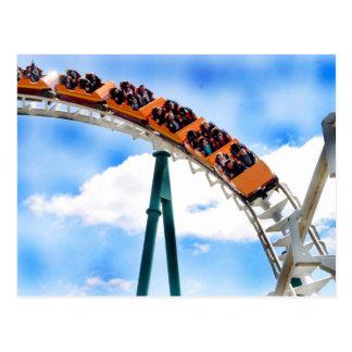 Speeding Orange Roller Coaster Post Card