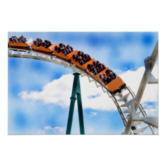 Speeding Orange Roller Coaster Posters