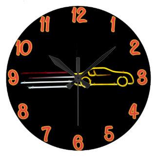 Speeding Race Car Neon Sign Large Clock