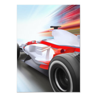 Speeding Red Race Car Card