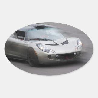 Speeding Sports Car Oval Sticker