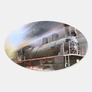 Speeding Train Oval Stickers