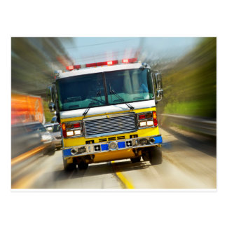Speeding Yellow Firetruck Postcard