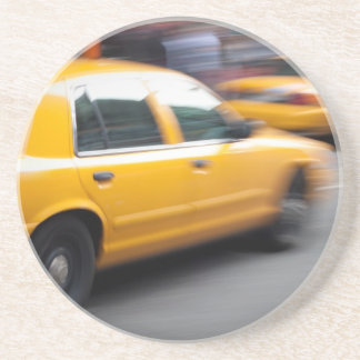 Speeding Yellow NY City Taxi Cab with Motion Blur Drink Coaster