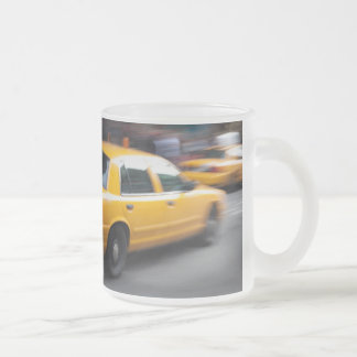 Speeding Yellow NY City Taxi Cab with Motion Blur Frosted Glass Coffee Mug