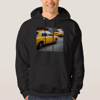 Speeding Yellow NY City Taxi Cab with Motion Blur Hoodie
