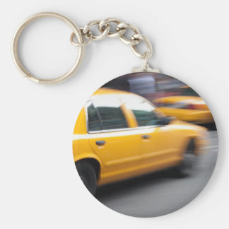 Speeding Yellow NY City Taxi Cab with Motion Blur Basic Round Button Keychain