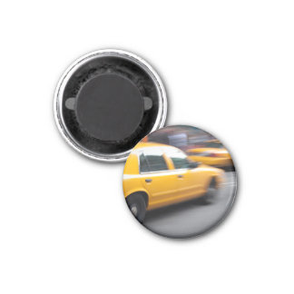 Speeding Yellow NY City Taxi Cab with Motion Blur Magnet