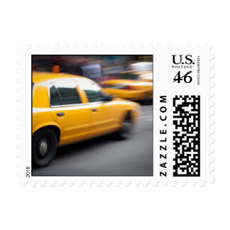 Speeding Yellow NY City Taxi Cab with Motion Blur Stamps
