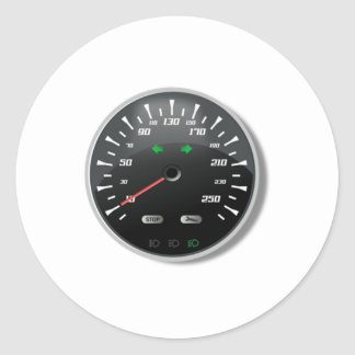 Speedometer Classic Round Sticker