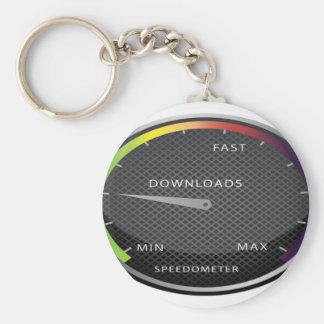 Speedometer graphic design basic round button keychain