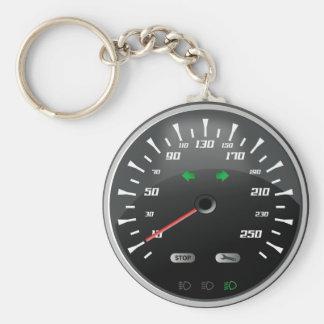Speedometer Basic Round Button Keychain