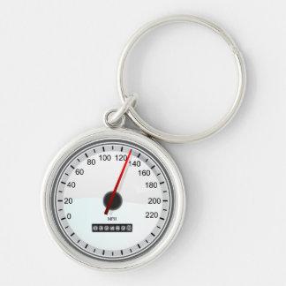 speedometer Silver-Colored round keychain