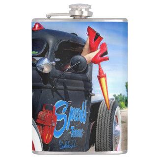 Speeds Towing Rat Rod Truck Rockabilly Betty Pinup Hip Flask