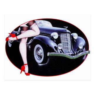 Speedster car red high heel shoes lady legs postcard
