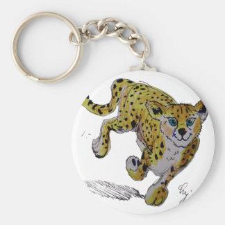 Speedster Cheetah cub running Basic Round Button Keychain