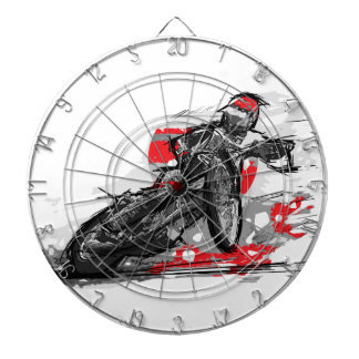 Speedway Flat Track Motorcycle Racer Dartboard With Darts