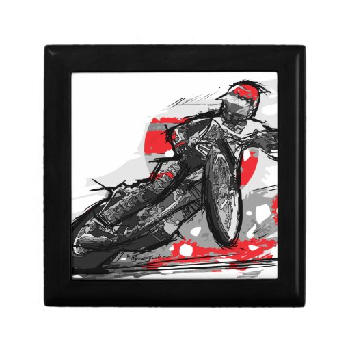 Speedway Flat Track Motorcycle Racer Jewelry Boxes