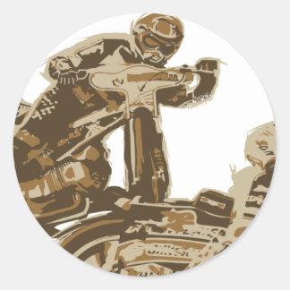 Speedway Motorcycle Racers Round Sticker