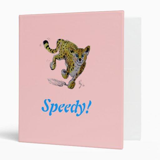Speedy! cute cartoon cheetah cub 3 ring binder