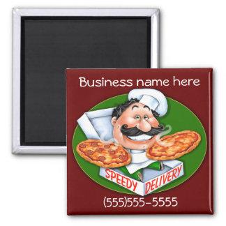 Speedy delivery pizza chef 2 inch square magnet