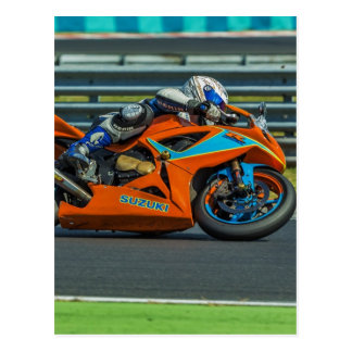 Speedy Orange Motor Racing Postcard