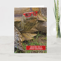 speedy recovery-old tortoise in red sunglasses card