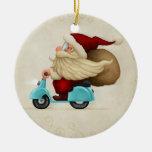 Speedy Santa Claus Ceramic Ornament