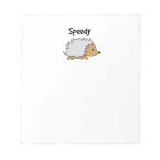 Speedy the Hedgehog Cartoon Illustration Notepad