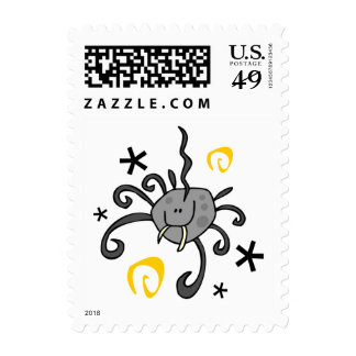 Spel022 CUTE GREY GRAY SPIDER FANGS SWIRLS STARS C Postage