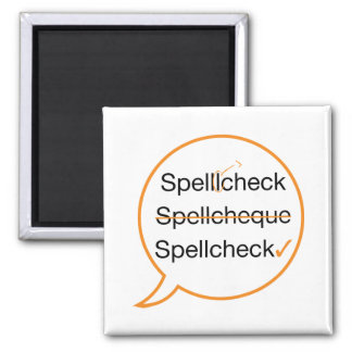 Spell Check 2 Inch Square Magnet
