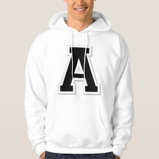 Spell it Out Initial Letter A Black Hoodie