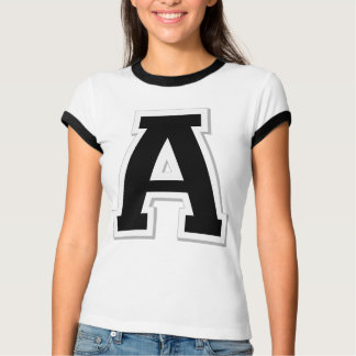 Spell it Out Initial Letter A Black Women's Ringer T-Shirt