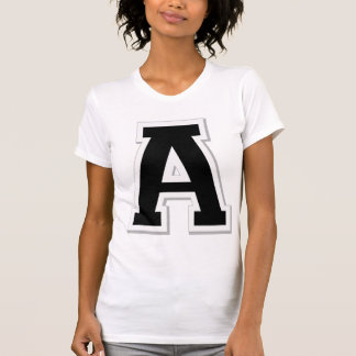 Spell it Out Initial Letter A Black Women's Tee