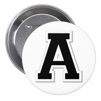 Spell it Out Initial Letter A in Black Button