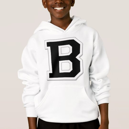 Spell it Out Initial Letter B Black Hoodie