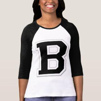 Spell it Out Initial Letter B Black Women's Raglan Tshirts