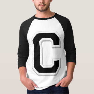 Spell it Out Initial Letter C Black Baseball shirt