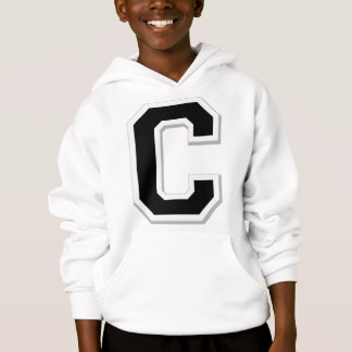 Spell it Out Initial Letter C Black Hoodie